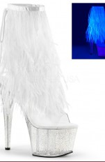 Sexy Pumps Pleaser - ADORE-1017MFF Marabou Fur Fringe Ankle Boot