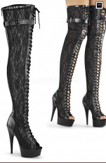 Sexy Boots Pleaser - DEL3025ML Peep Toe Front Lace-up Lace Appliqued Mesh Thigh High Boot