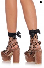 Knee Socks Leg Avenue - 3044 Net Anklets With A Bow Top