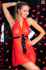 Chemises and Dresses  7heaven - Marcela Sexy Red Chemise Set