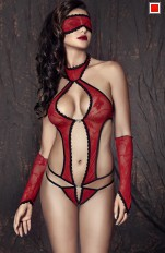 Plus size Body/ Teddy Anais - Ashley Sexy Red Body With Gloves
