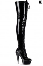 Sexy Boots Pleaser - DELIGHT-3023 Platform Lace-Up Stretch Thigh High Boot