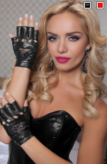 Rękawiczki latex Seven 'Til Midnight - 40120 Wrist gloves with lace heart inset