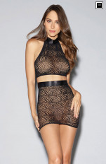 Sets with Skirt Dreamgirl - 11029 Mosaic Lace Halter Bralette and Skirt Set