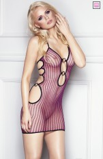 Chemises and Dresses  7heaven - Coco Provocative Black / Pink Stripy Fishnet Dress