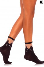 Knee Socks Leg Avenue - 3937 Black Cat Opaque Anklet