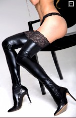 Plus size Stockings/ Hold-ups/ Tigh-Highs 7heaven - A0197 Sexy Wet-look Stockings Queen Size