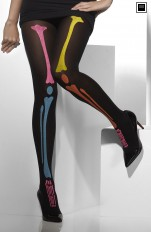 Pantyhose Fever - 35608 Tights With Neon Skeleton Print