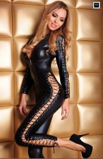Plus size Bodystocking 7heaven - Sheila Sexy Catsuit with Zipper & Lacing Queen Size