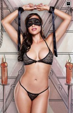 Other Sets Baci - 1326 Love Slave - Black Lace Bra/ Panty/ Mask