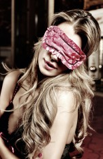 Blindfold, eyemask & masks Baci - 3082 Rose Pink Satin/Lace Sleep Mask
