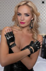 Rękawiczki latex Seven 'Til Midnight - 40122 Lamé motorcycle gloves with punk studs