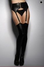 Plus size Stockings/ Hold-ups/ Tigh-Highs 7heaven - A7766 Leather Imitation Stay-ups Queen Size