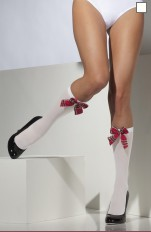 Knee Socks Smiffy's - 23149 White School Girl Knee High Socks with Tartan Bow