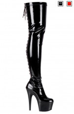 Sexy Boots Pleaser - ADORE-3063 Platform Rear Lace-Up Stretch Thigh Boot